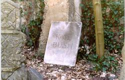 Kate Bush tombstone at the Haunted Castle, 2003