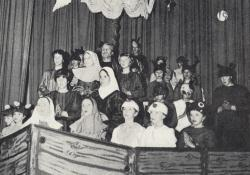 The cast of 'Noye's Fludde', with a young Kate on the left