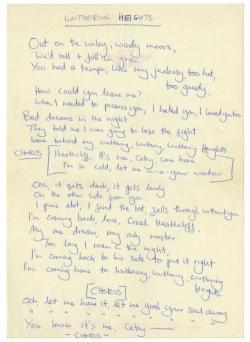 Lyrics for 'Wuthering Heights', handwritten by Kate