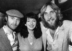 Phil Collins, Kate Bush and Mike Rutherford at the 1980 Melody Maker Pop Awards.
