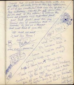 Del Palmer and Kate Bush in the Super Bear Studios guest book