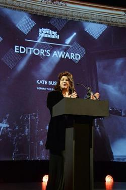 Kate Bush during her acceptance speech at the Evening Standard Theatre Awards, 2014